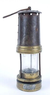Antique Brass And Steel Mining Lamp
