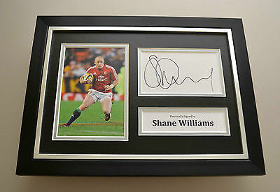 Shane Williams Signed A4 Photo Framed Display Genuine British Lions Autograph