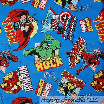 BonEful FABRIC Cotton Quilt Super Hero Marvel Comic Ironman Hulk Thor Boy SCRAP