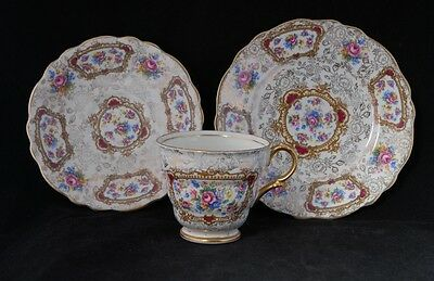 Vintage James Kent POMPADOUR Trio - All over Gold Flower Chintz