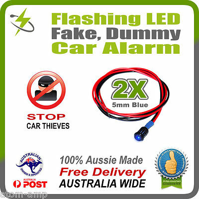 2pcs BLUE 5mm Flashing LED Fake Dummy Car Alarm Light - STOP THIEVES
