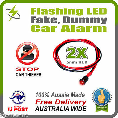 2x RED 5mm Flashing LED Fake Dummy Car Alarm Light - STOP THIEVES