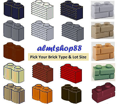LEGO - Lot of 1x2 bricks modified - PICK YOUR BRICK & COLORS Masonry Grille Log