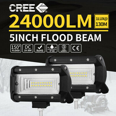 Pair 7inch 80w Cree LED Light Bar Spot Flood Work Driving Offroad 4WD Lamp