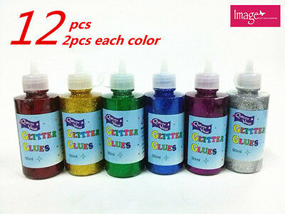 12x 90 ml Glitter Glue | 6 Metallic Colours Two Each Art Craft DIY (24204x12)