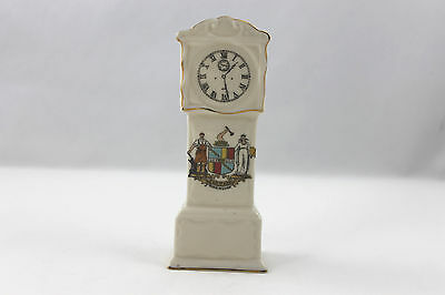 VINTAGE CARLTON WARE PORCELAIN FIGURINE SOUVENIR CRESTED GRANDFATHER CLOCK