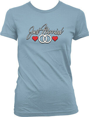 Just Married Wedding Rings Hearts Marry Me Bride Bridal Girls Junior T-Shirt
