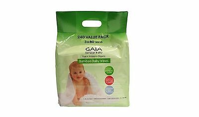 240 wipes Value Pack GAIA Bamboo Baby Wipes ( 3 x 80 wipes )