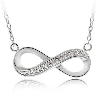 925 Sterling Silver Diamond Accent Infinity Necklace