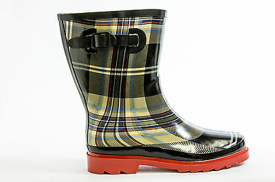 Henry Ferrera 9107 Women's Black & Red Plaid print Rainboots Medium (B, M)