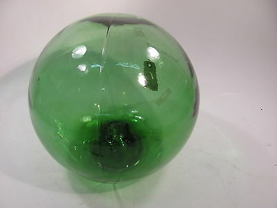 """AUTHENTIC 12"""" Sea  Green  GLASS FISHING FLOAT BALL  2 PIECE MOLD BIG BUTTON"""