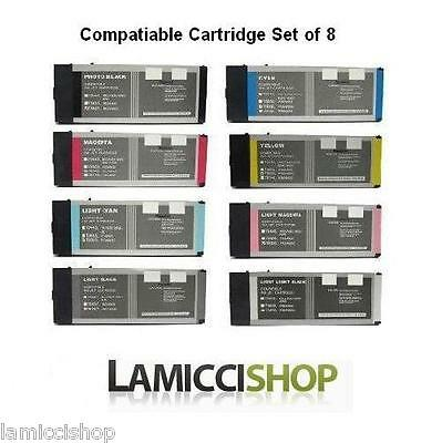 New Wide Format Ink 8 Cartridge Set Compatible for Epson Stylus Pro 4880 Printer