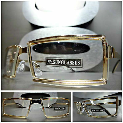 unique contemporary modern club style clear lens eye glasses gold fashion frames