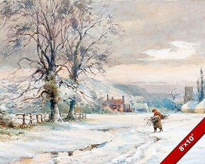England In Winter English Countryside Painting Art Real Canvas GicleePrint