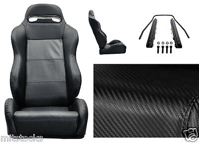 2 BLACK CARBON VINYL PVC LEATHER RACING SEATS RECLINABLE w/ SLIDER FOR ACURA NEW