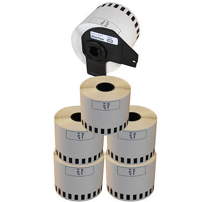 5+1 ROLL DK22205 DK 22205 BROTHER COMPATIBLE CONTINUOUS LABELS 62mm x 30.48m