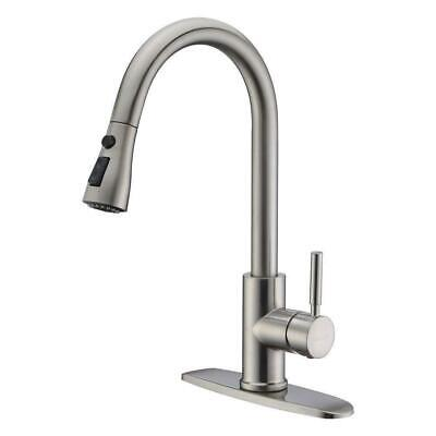 Brushed Nickel Kitchen Faucet Pull Down Sink Tap with Sprayer and Soap Dispenser