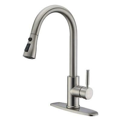 WEWE Single Handle Kitchen Faucet Sink with Pull Out Sprayer Brushed Nickel Mixe