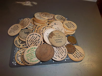 Random Collection of 42 wood nickels and 2 tokens, mostly from midwest area