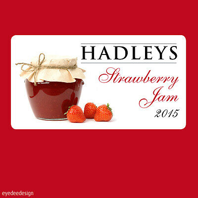 24 x Jam Jar Pot Stickers Labels homemade Preserves Personalised Strawberry -363