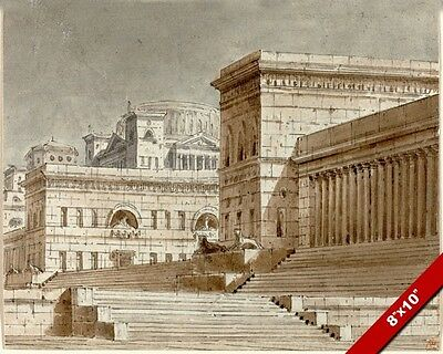 Ancient Roman Architecture Conceptual Drawing Ink Painting Art Real Canvas Print