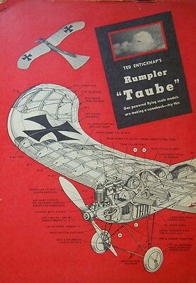 Vintage RUMPLER TAUBE 1/2A FF Scale Model Airplane PLAN + Construction Article