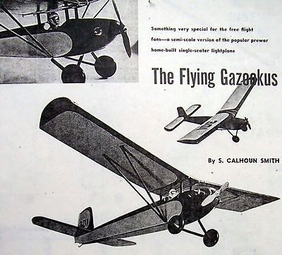 Vintage FLYING GAZOOKUS 1950 1/2A FF Model Airplane PLAN + Construction Article