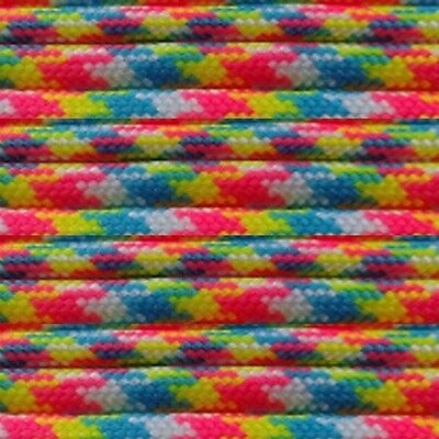 Confetti 550-LB Paracord Type III 7 strand parachute cord 100 ft Woven Pink