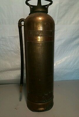 EMPTY Vintage Safety Brass/Copper Riveted Fire Extinguisher No.B 22935
