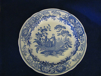 "Spode The Blue Room Collection Plate 10 1/2"" GIRL AT THE WELL Blue on White"