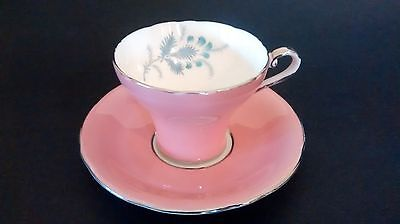 Gorgeous AYNSLEY Pink Teacup & Saucer Fine Bone China Corset Style