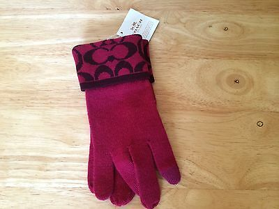 NWT COACH ~ Knit Logo Tech Touch Gloves~ Raspberry ~ Soft & Warm # 85216