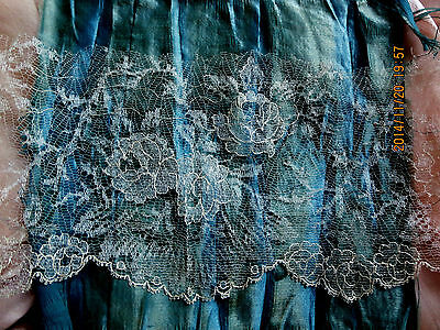 "EXQUISITE ETHEREAL ANTIQUE FINEST SHEER SILK WEDDING LACE ROSES TRIM FRAG 15""x4"""