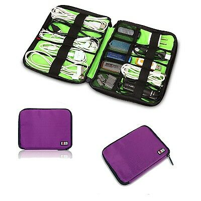 Purple Universal Cable Organizer Electronics Accessories Case USB Drive Shuttle