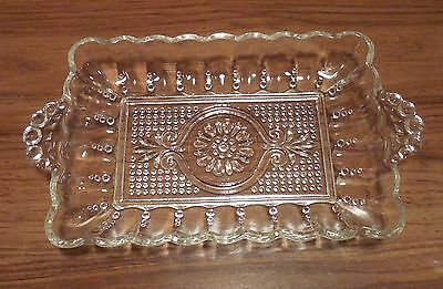 Anchor Hocking No. E156 Handled Relish Dish Pre 1950 Clear, Beaded Glass