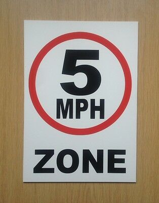 5 MPH Zone speed limit sign.  Safety Sign.  Plastic.  (PL-80)