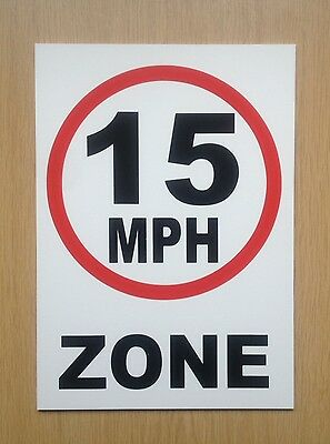 15 MPH Zone speed limit sign.  Safety Sign.  Plastic.  (PL-82)