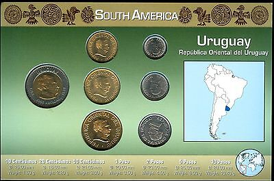 Uruguay 7 Coin Uncirculated Type Set