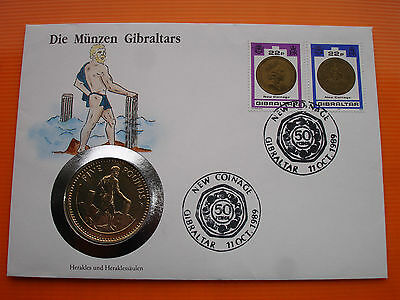 GIBRALTAR £5 FIVE 5 POUNDS 1990 AA HERCULES BU SEALED HUGE COIN Stamp Cover FDC