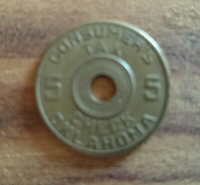 Vintage Consumer's Five check State of Oklahoma Tax Token