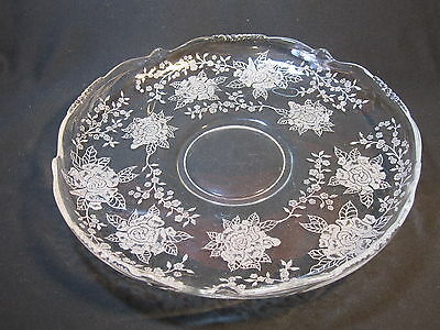 "Heisey #1519 Waverly 13"" Floral Bowl with Rose of Peace Etch"