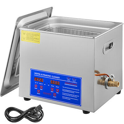 New Stainless Steel 10 L Liter Industry Heated Ultrasonic Cleaner Heater w/Timer