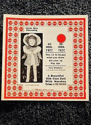 1936 Antique Vintage LITTLE MISS CHARMING Doll, Eegee, GAME PLAYING CARD, Unused
