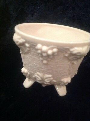 Stunning Vintage Pink Milk Glass 4 X Footed Candy Bowl