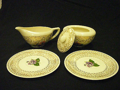 VINTAGE  EDWIN KNOWLES CHINA SUGAR W/LID, CREAMER, AND 2 SAUCERS (5 PCS)