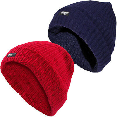 Ladies Fleece Lined Hat Woolly Thin Insulated Winter Women Knitted Cap