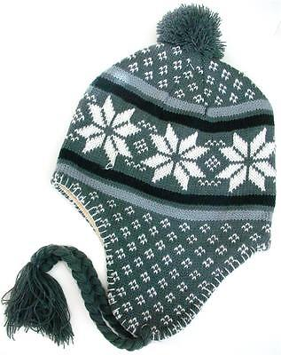Winter Fashion Ski Hat Lined Beanie Cap Snow flakes Gray with Braids Ear flaps