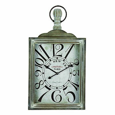 LARGE SQUARE VINTAGE NEW ERA POCKET WATCH ANTIQUE WALL CLOCK  - H 72cm
