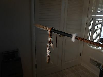 hand carved steel tipped walking spear