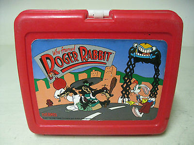 COLLECTIBLE 1987 THERMOS PLASTIC WHO FRAME ROGER RABBIT RED LUNCH BOX